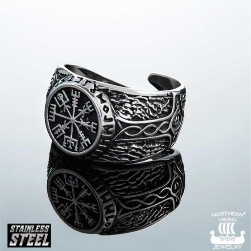 """Northern Viking Jewelry-Sormus """"Vegvisir Riimukompassi"""""""
