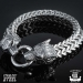 "Northern Viking Jewelry-Rannekoru ""Steel Wolf Head Bracelet"""