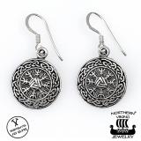 "Northern Viking Jewelry®-Korvakorut ""925 Silver Round Valknut"""