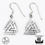 "Northern Viking Jewelry®-Korvakorut ""925 Silver Valknut"""