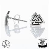 "Northern Viking Jewelry®-Nappikorvakorut ""925 Silver Valknut"""