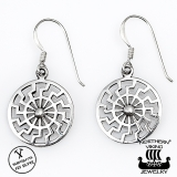 "Northern Viking Jewelry®-Korvakorut ""925 Silver Black Sun"""