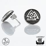 """Northern Viking Jewelry®-Nappikorvakorut """"Oksidoitu Valknut"""""""
