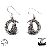 Northern Viking Jewelry® 925-Hopea Korvakorut Moon Wolf