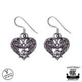 Northern Viking Jewelry® 925-Hopea Korvakorut Heart Wolf