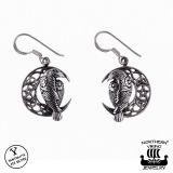 "Northern Viking Jewelry® 925-Hopea Korvakorut ""Moon Raven And Star"""