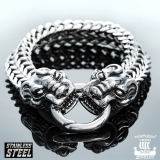 "Northern Viking Jewelry-Rannekoru ""Steel Dragon Head Bracelet"""