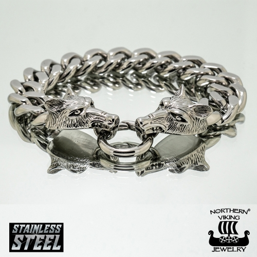 "Northern Viking Jewelry®-Rannekoru ""Steel Chain Wolf Head"""