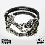 "Northern Viking Jewelry®-Rannekoru ""Thor's Hammer Wolf Bracelet"""