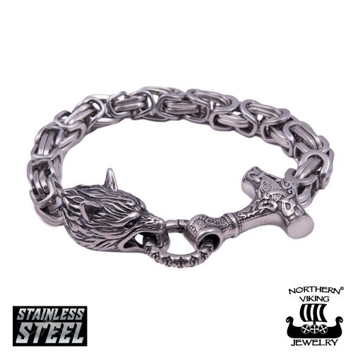 "Northern Viking Jewelry®-Rannekoru ""Byzantine Thor's Hammer Wolf Head"""