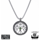 "Northern Viking Jewelry-Riipus ""Green Cz Silver Tree Of Life"""