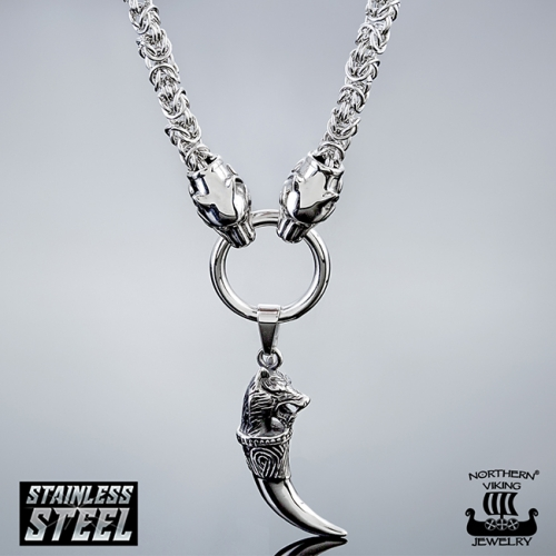 Northern Viking Jewelry® Kuningasketju Sudenpäillä + Fenrir Wolf Head