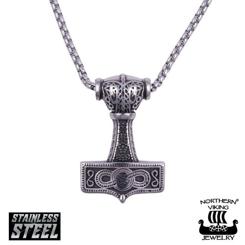 "Northern Viking Jewelry®-Riipus ""Eternity Knotwork Thor's Hammer"""
