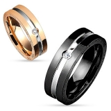 "Kirurginteräs Sormus ""'Two Tone Center Line with Clear CZ Side Steel Couple Ring"""