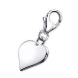"Hopeinen keräilykoru ""Silver Plain Heart Charm With Lobster"""