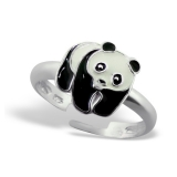 "Lasten Hopeasormus ""Panda Ring Adjustable with Epoxy"""
