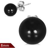"316L Kirurginteräs ""8mm Black Resin Faux Pearl Bead Ball Stud Earrings"""