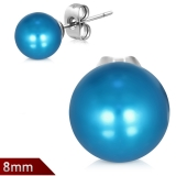 "316L Kirurginteräs ""8mm Blue Resin Faux Pearl Bead Ball Stud Earrings"""