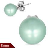 "316L Kirurginteräs ""8mm Light Green Resin Faux Pearl Bead Ball Stud Earrings"""