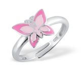"Lasten Hopeasormus ""Butterfly Ring Adjustable with Epoxy"""