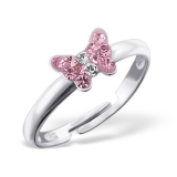 "Lasten Hopeasormus ""Butterfly Ring Adjustable with Crystal"""