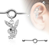 Playboy Bunny with Black Gem Eye 316L Surgical Steel Industrial Barbell