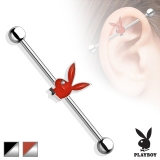 Playboy Bunny Epoxy with Clear Gem Eye 316L Surgical Steel Industrial Barbell
