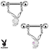 Playboy Bunny with Single Gem Dangle 316L Surgical Steel Nipple Bar