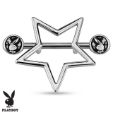 Playboy Bunny with Star Shield 316L Surgical Steel Nipple Bar