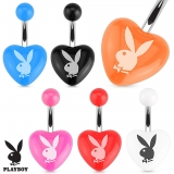Playboy Bunny Printed Heart Acrylic 316L Surgical Steel Navel Ring