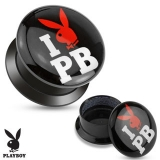 """I Love Playboy"" Print Black Acrylic Flat Screw Fit Plug"