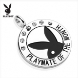 "Playboy Logo with Colored Gems ""Playmate Of The Month"" Pendant ""Clear"""