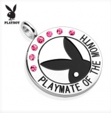 "Playboy Logo with Colored Gems ""Playmate Of The Month"" Pendant ""Pink"""