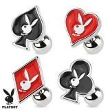 Card Suit Symbols with Playboy Bunny 316L Surgical Steel Tragus Barbell