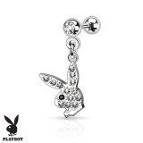 Paved Gem Playboy Bunny Dangle 316L Surgical Steel Tragus Barbell