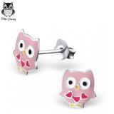 """Hopeiset Lasten Korvakorut """"Pink Heart Owl ear studs"""""""