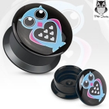 Love Owl Print Black Acrylic Flat Screw Fit Plug