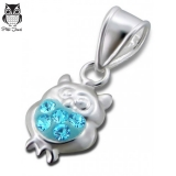 "Hopeinen Lasten Riipus ""Children's Silver Owl Pendant with Crystal"""