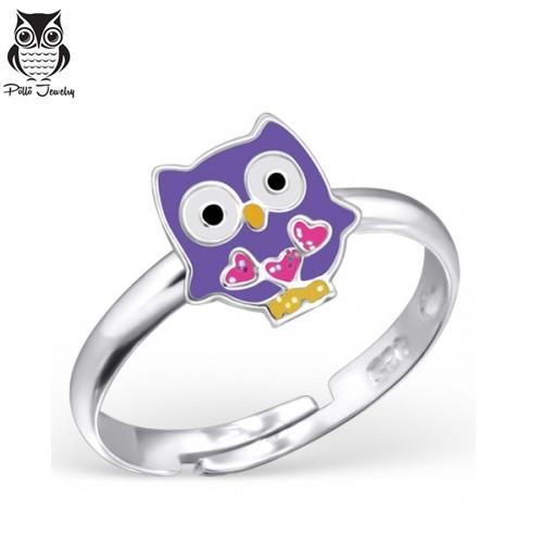 "Lasten Hopeasormus ""Silver Owl Ring Adjustable with Epoxy"""