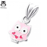 "Hopeinen Lasten Riipus ""Children's Silver Owl Pendant with Epoxy"""