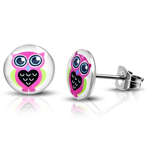10 mm  Stainless Steel Colorful Owl Circle Stud Earrings