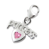"Hopeinen keräilykoru ""Silver Princess Heart Charm With Lobster"""