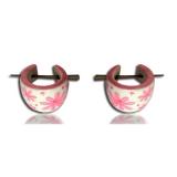 "Puiset korvakorut ""Hand Painted Wood Earring Pink Flower"""