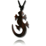 "Puuriipus ""Brown wood pendant with cotton cord Gecko"""