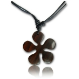 "Puuriipus ""Brown wood pendant with cotton cord Flower"""