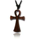 "Puuriipus ""Brown wood pendant with cotton cord Cross"""