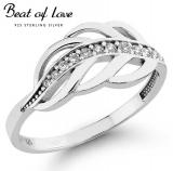 Beat of Love lehti hopeasormus zirkoneilla (R-0162Z)