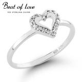 Beat of Love hopeasormus sydän zirkoneilla (R-1160Z)