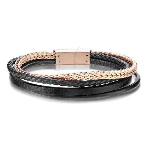 Teräsrannekoru Leather and Rosegold Spikes Steel Jewelry