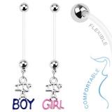 Napakoru Baby Gender Dangle Bio Flex Pregnancy Navel Ring